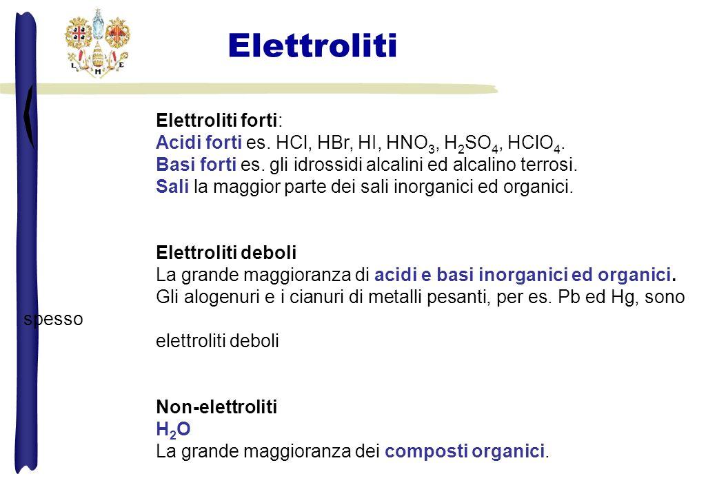Elettroliti forti: Acidi forti es. HCl, HBr, HI, HNO 3, H 2 SO 4, HClO 4. Basi forti es. gli idrossidi alcalini ed alcalino terrosi. Sali la maggior p