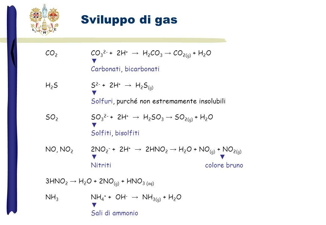 Sviluppo di gas CO 2 CO 3 2- + 2H + H 2 CO 3 CO 2(g) + H 2 O Carbonati, bicarbonati H 2 SS 2- + 2H + H 2 S (g) Solfuri, purché non estremamente insolu