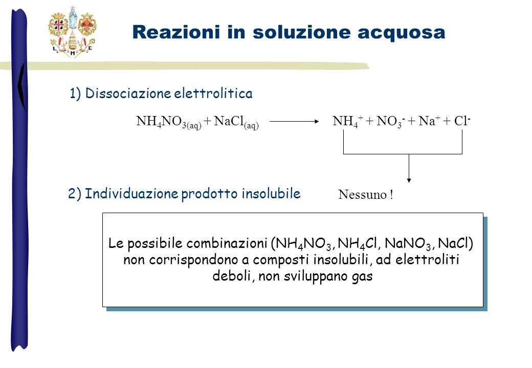 NH 4 NO 3(aq) + NaCl (aq) NH 4 + + NO 3 - + Na + + Cl - Nessuno ! 1) Dissociazione elettrolitica 2) Individuazione prodotto insolubile Le possibile co