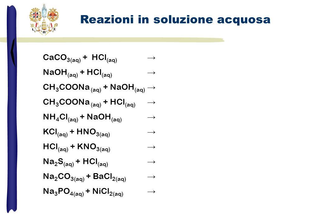 CaCO 3(aq) + HCl (aq) NaOH (aq) + HCl (aq) CH 3 COONa (aq) + NaOH (aq) CH 3 COONa (aq) + HCl (aq) NH 4 Cl (aq) + NaOH (aq) KCl (aq) + HNO 3(aq) HCl (a