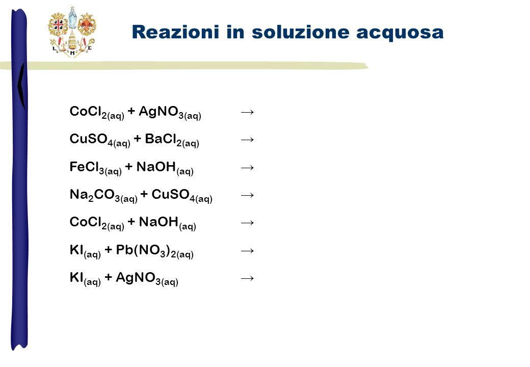 CoCl 2(aq) + AgNO 3(aq) CuSO 4(aq) + BaCl 2(aq) FeCl 3(aq) + NaOH (aq) Na 2 CO 3(aq) + CuSO 4(aq) CoCl 2(aq) + NaOH (aq) KI (aq) + Pb(NO 3 ) 2(aq) KI