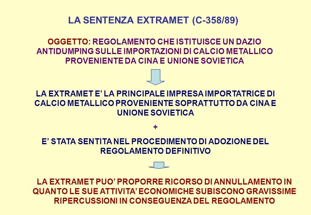 LA SENTENZA EXTRAMET (C-358/89) OGGETTO: REGOLAMENTO CHE ISTITUISCE UN DAZIO ANTIDUMPING SULLE IMPORTAZIONI DI CALCIO METALLICO PROVENIENTE DA CINA E