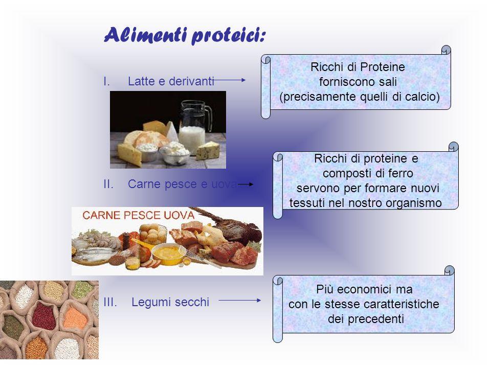 Alimenti proteici: I.Latte e derivanti II.Carne pesce e uova III. Legumi secchi Ricchi di Proteine forniscono sali (precisamente quelli di calcio) Ric