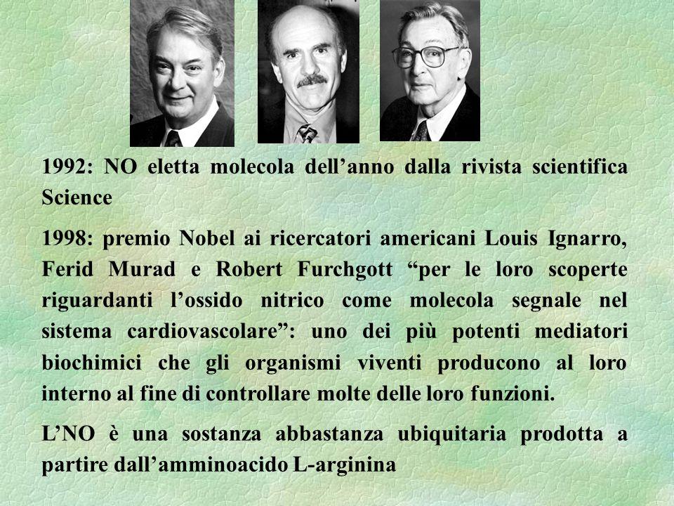 1992: NO eletta molecola dellanno dalla rivista scientifica Science 1998: premio Nobel ai ricercatori americani Louis Ignarro, Ferid Murad e Robert Fu