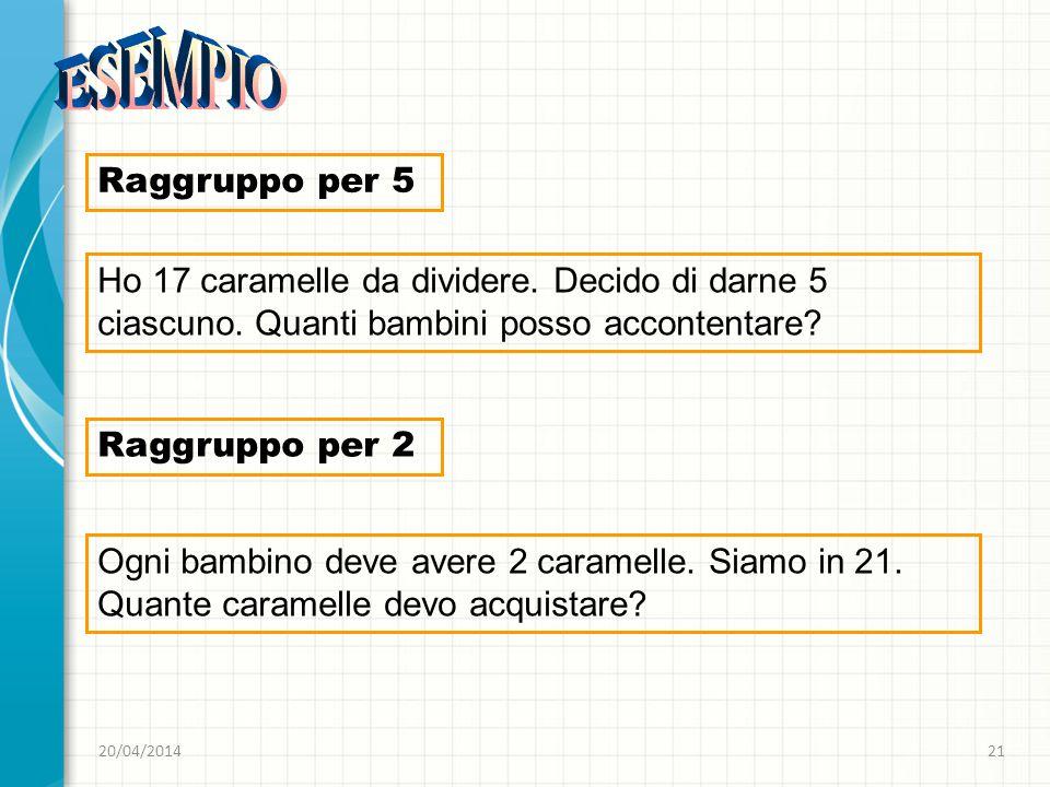 20/04/201421 Raggruppo per 5 Ho 17 caramelle da dividere. Decido di darne 5 ciascuno. Quanti bambini posso accontentare? Raggruppo per 2 Ogni bambino