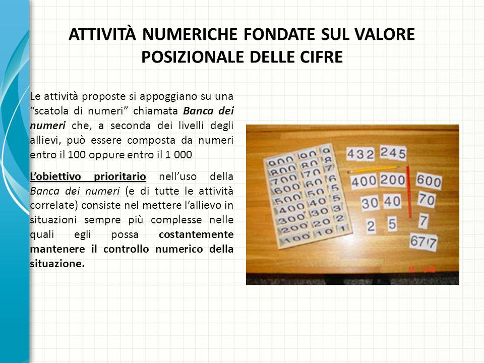 ATTIVITÀ NUMERICHE FONDATE SUL VALORE POSIZIONALE DELLE CIFRE Le attività proposte si appoggiano su una scatola di numeri chiamata Banca dei numeri ch