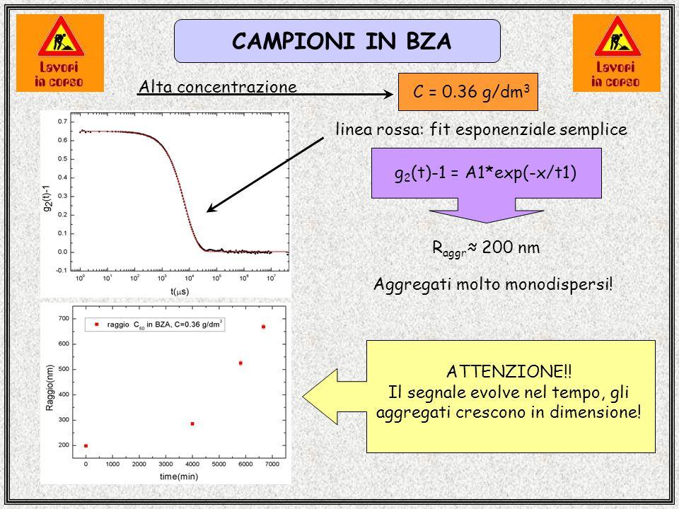 CAMPIONI IN BZA C = 0.36 g/dm 3 g 2 (t)-1 = A1*exp(-x/t1) R aggr 200 nm ATTENZIONE!! Il segnale evolve nel tempo, gli aggregati crescono in dimensione