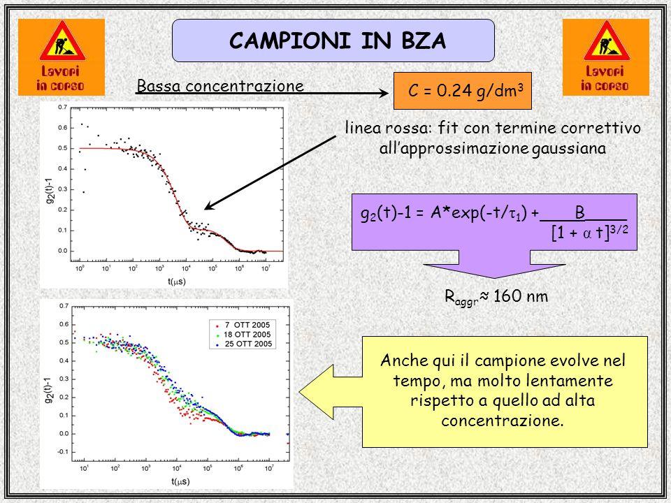 CAMPIONI IN BZA C = 0.24 g/dm 3 Bassa concentrazione g 2 (t)-1 = A*exp(-t/ τ 1 ) + B____ [1 + α t] 3/2 Anche qui il campione evolve nel tempo, ma molto lentamente rispetto a quello ad alta concentrazione.