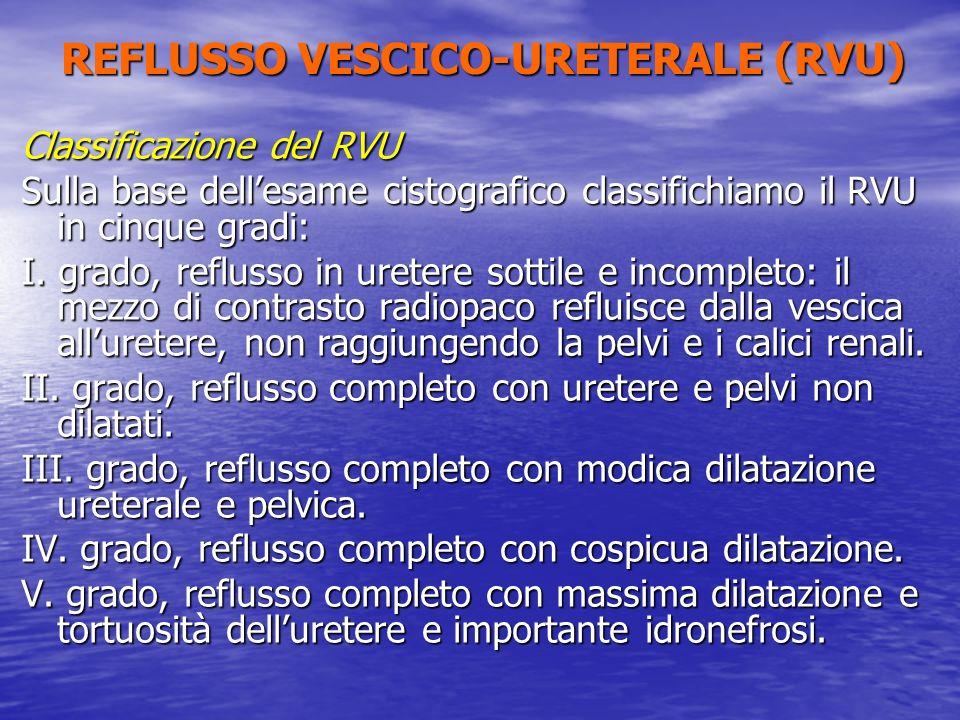 Classificazione del RVU Sulla base dellesame cistografico classifichiamo il RVU in cinque gradi: I. grado, reflusso in uretere sottile e incompleto: i