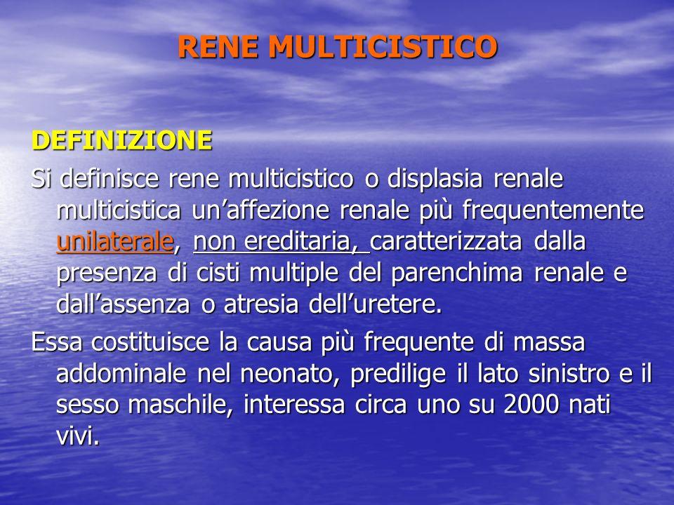 DEFINIZIONE Si definisce rene multicistico o displasia renale multicistica unaffezione renale più frequentemente unilaterale, non ereditaria, caratter