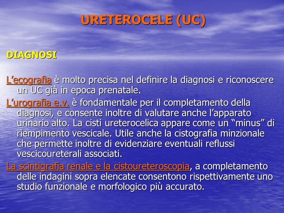 DIAGNOSI Lecografia è molto precisa nel definire la diagnosi e riconoscere un UC già in epoca prenatale. Lurografia e.v. è fondamentale per il complet