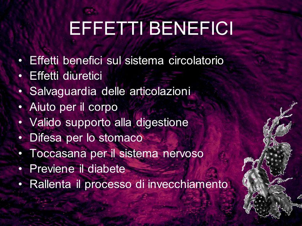 EFFETTI BENEFICI Effetti benefici sul sistema circolatorio Effetti diuretici Salvaguardia delle articolazioni Aiuto per il corpo Valido supporto alla