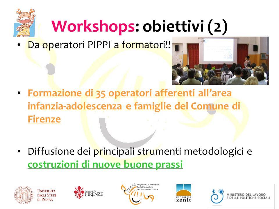 Workshops: obiettivi (2) Da operatori PIPPI a formatori!.