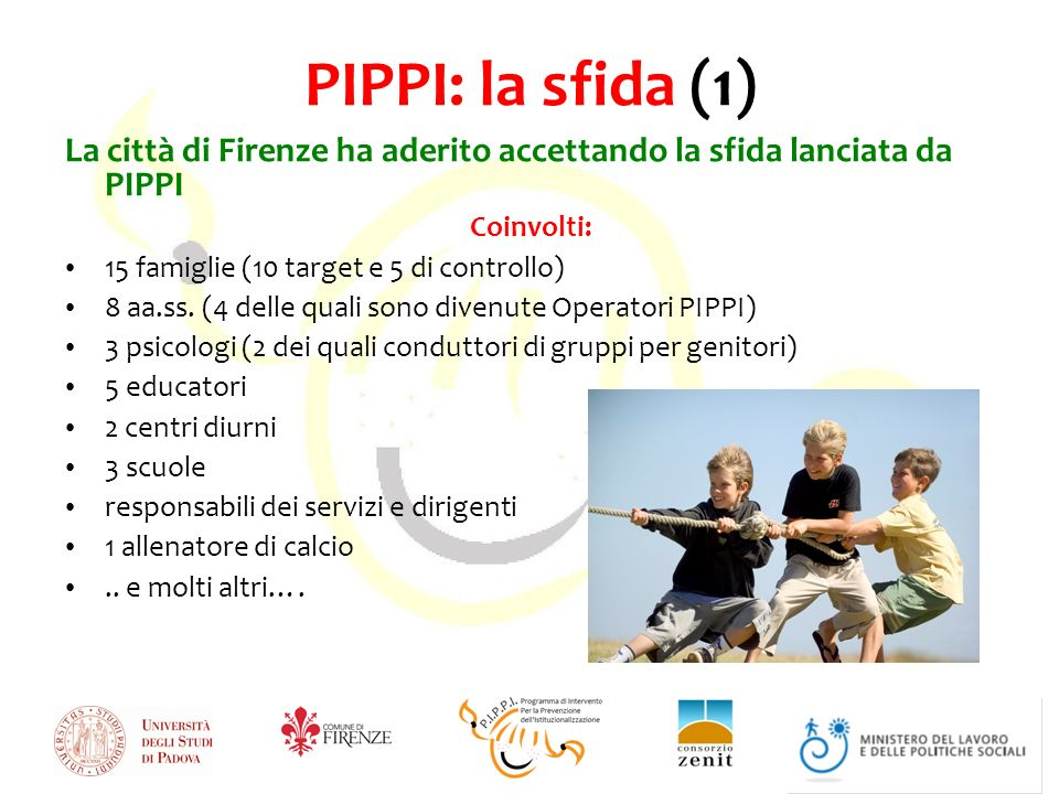 PIPPI: la sfida (1) La città di Firenze ha aderito accettando la sfida lanciata da PIPPI Coinvolti: 15 famiglie (10 target e 5 di controllo) 8 aa.ss.
