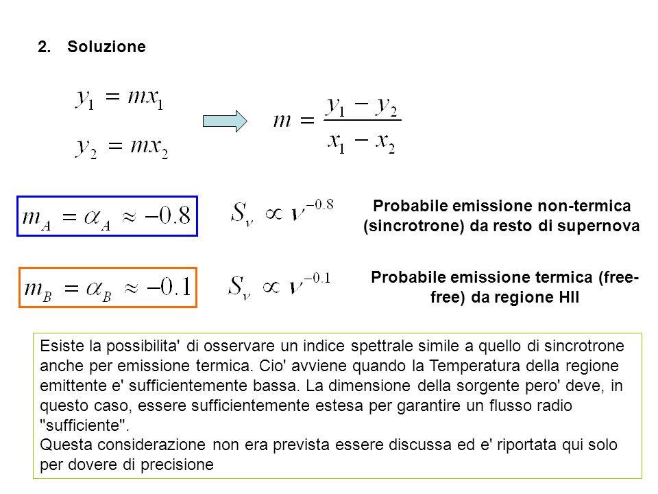 2. Soluzione Esiste la possibilita' di osservare un indice spettrale simile a quello di sincrotrone anche per emissione termica. Cio' avviene quando l