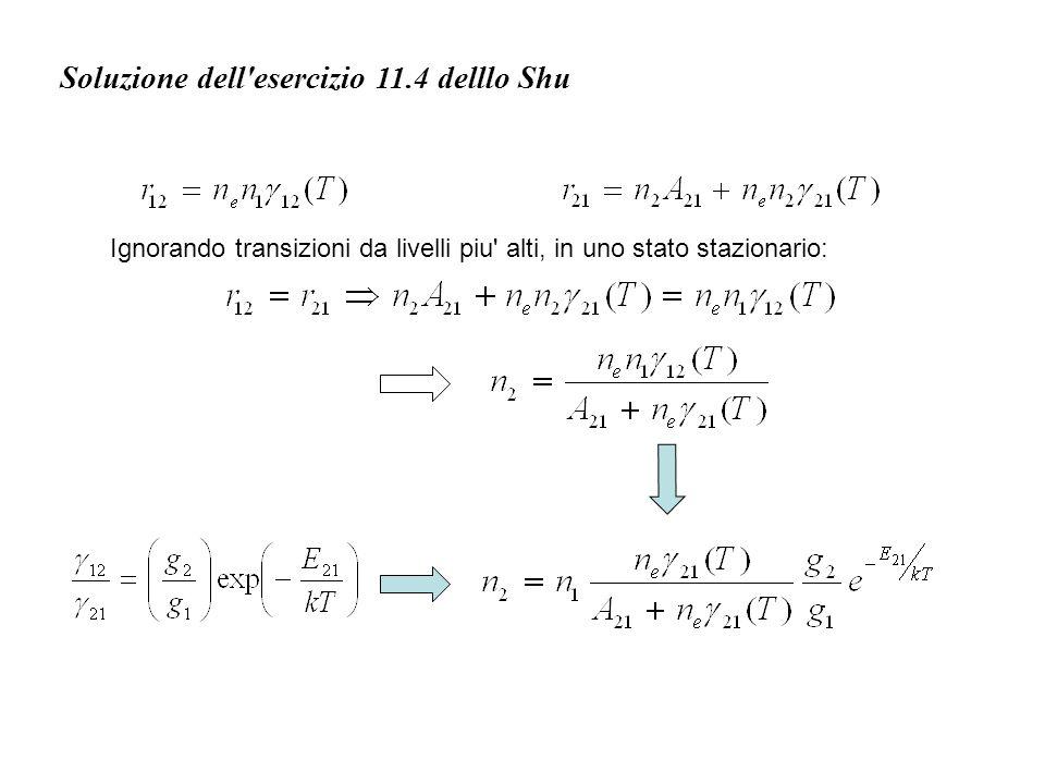 Soluzione dell esercizio 11.4 delllo Shu che per n e elevati diventa la legge di Boltzmann