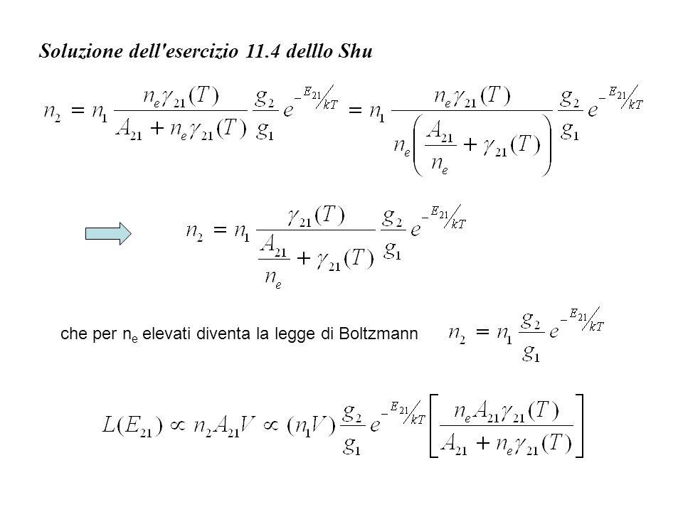 Soluzione dell'esercizio 11.4 delllo Shu che per n e elevati diventa la legge di Boltzmann