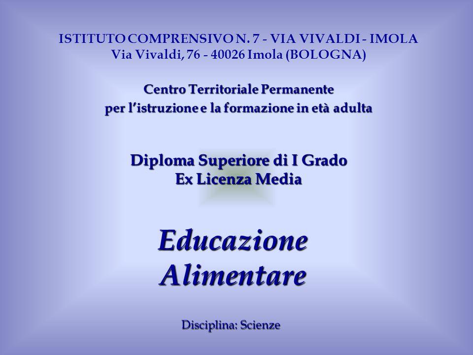 EducazioneAlimentare Disciplina: Scienze ISTITUTO COMPRENSIVO N. 7 - VIA VIVALDI - IMOLA Via Vivaldi, 76 - 40026 Imola (BOLOGNA) CentroTerritorialePer