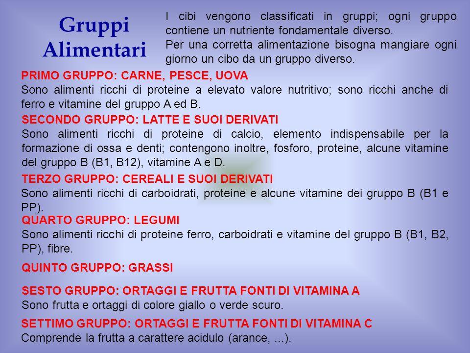 Gruppi Alimentari PRIMO GRUPPO: CARNE, PESCE, UOVA Sono alimenti ricchi di proteine a elevato valore nutritivo; sono ricchi anche di ferro e vitamine