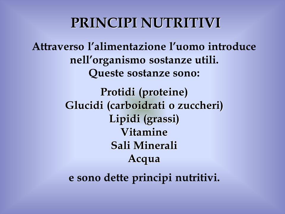 PRINCIPI NUTRITIVI Attraverso lalimentazione luomo introduce nellorganismo sostanze utili. Queste sostanze sono: Protidi (proteine) Glucidi (carboidra