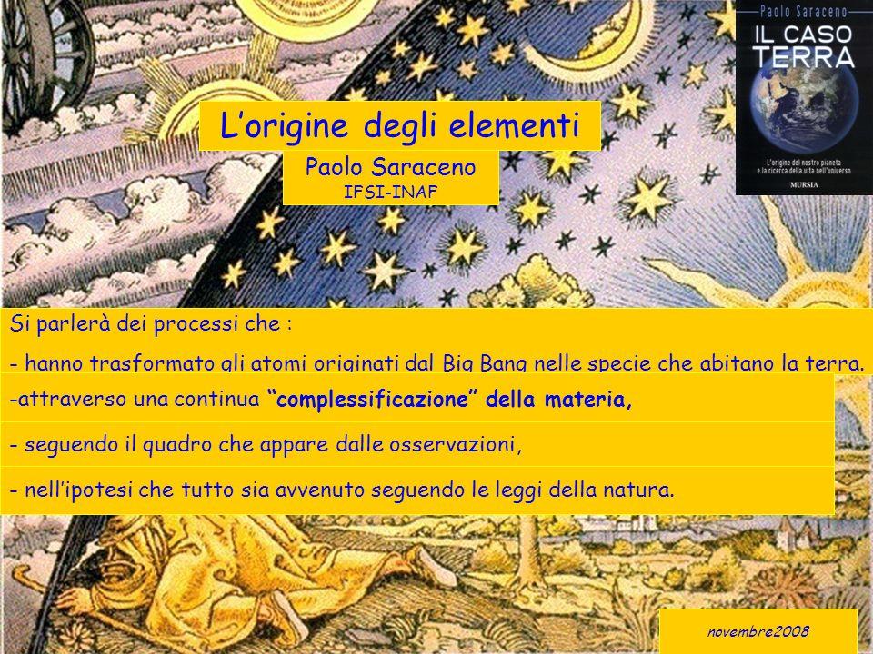 novembre2008 Lorigine degli elementi Si parlerà dei processi che : - hanno trasformato gli atomi originati dal Big Bang nelle specie che abitano la terra.