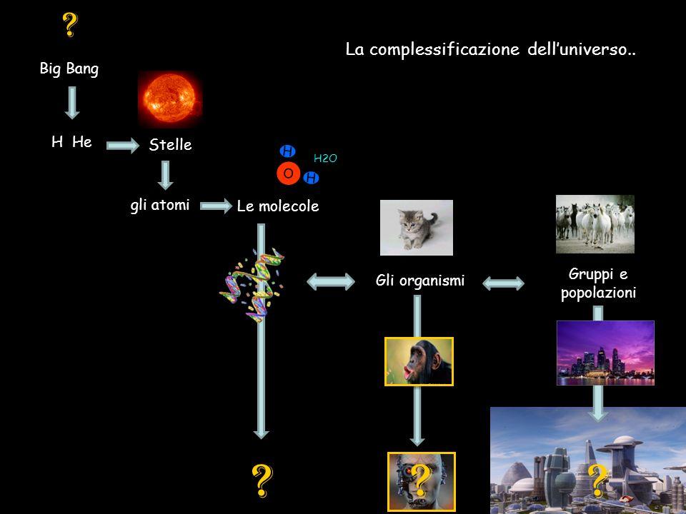 La complessificazione delluniverso..Big Bang H He Stelle gli atomi Le molecole .