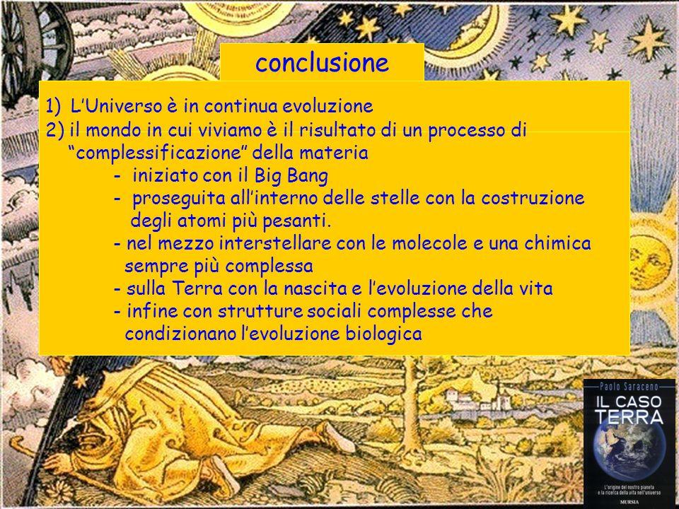 conclusione 1)LUniverso è in continua evoluzione 2) il mondo in cui viviamo è il risultato di un processo di complessificazione della materia - iniziato con il Big Bang - proseguita allinterno delle stelle con la costruzione degli atomi più pesanti.