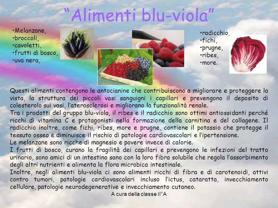 A cura della classe II°A Alimenti blu-viola Melanzane, broccoli, cavoletti, frutti di bosco, uva nera, Questi alimenti contengono le antocianine che c