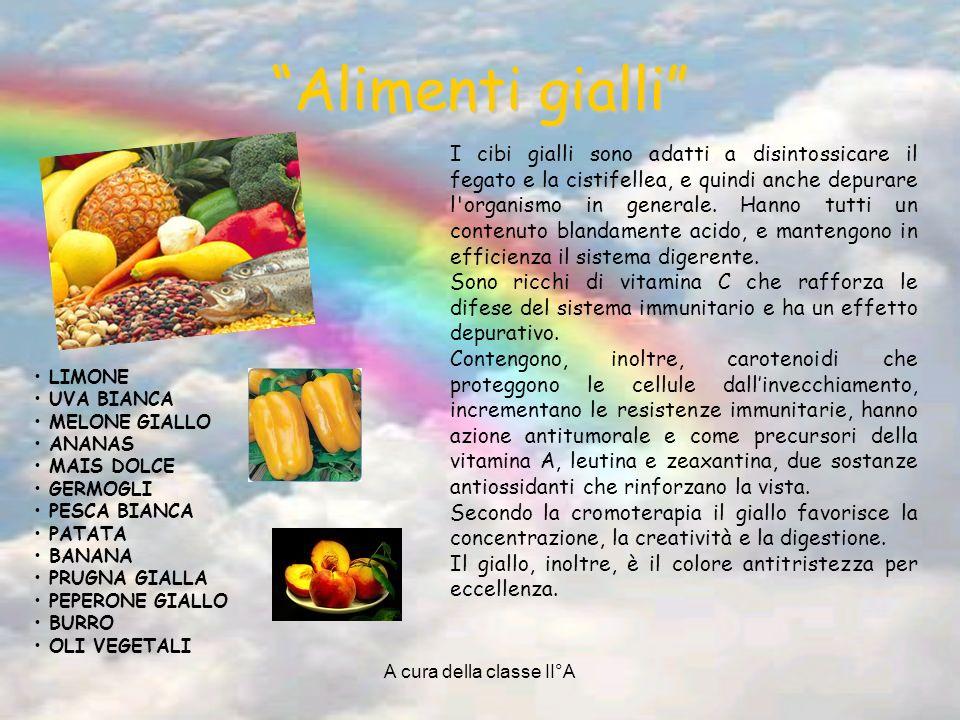A cura della classe II°A Alimenti arancione A ARANCIA M MANDARINO A ALBICOCCA M MANGO P PAPAIA ESCA M MELONE Z ZUCCA C CAROTA T TUORLO D UOVO I cibi arancione sono ricchi di enzimi con un potere riequilibrante che favorisce la digestione e aiuta ad assimilare meglio i cibi.