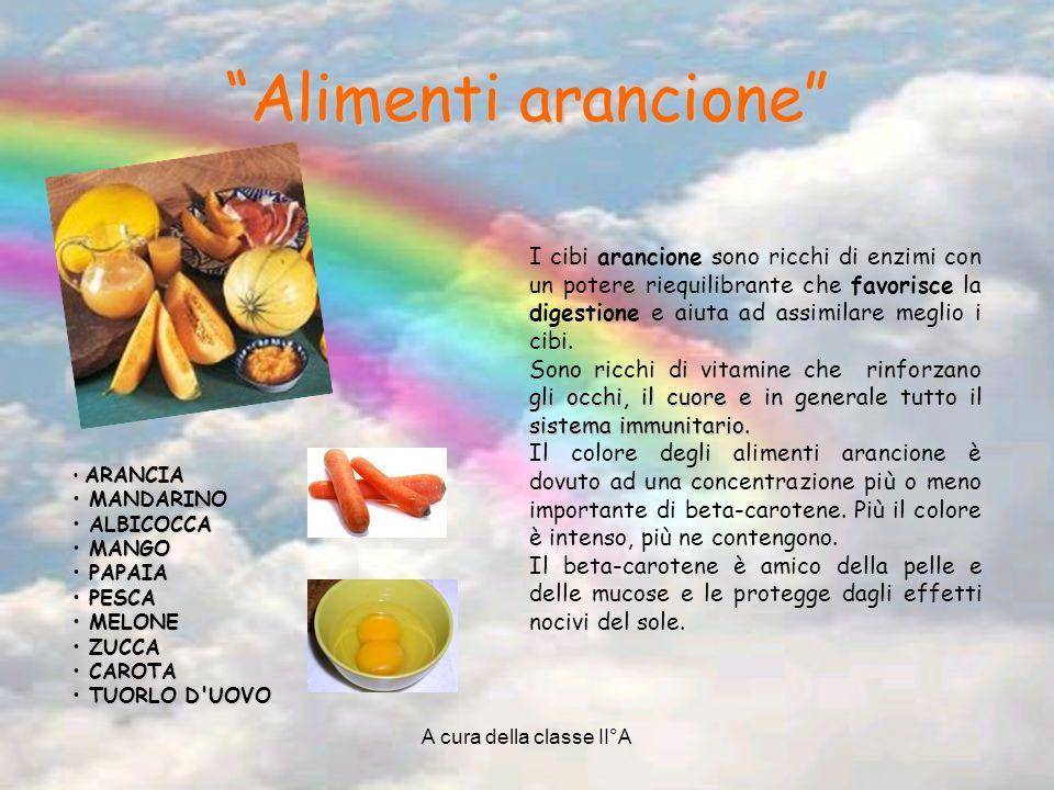 A cura della classe II°A Alimenti arancione A ARANCIA M MANDARINO A ALBICOCCA M MANGO P PAPAIA ESCA M MELONE Z ZUCCA C CAROTA T TUORLO D'UOVO I cibi a