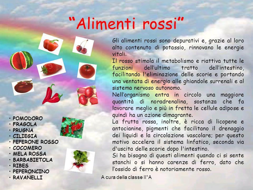 A cura della classe II°A Alimenti rossiAlimenti rossi POMODORO FRAGOLA PRUGNA CILIEGIA PEPERONE ROSSO COCOMERO MELA ROSSA BARBABIETOLA RIBES PEPERONCINO RAVANELLI Gli alimenti rossi sono depurativi e, grazie al loro alto contenuto di potassio, rinnovano le energie vitali.