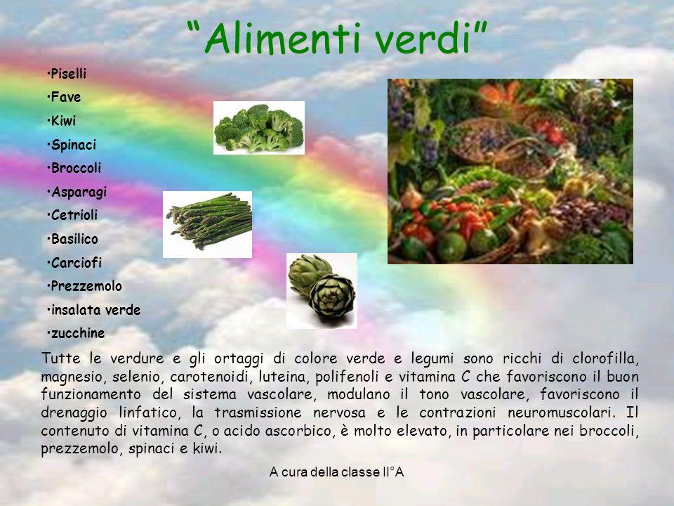 A cura della classe II°A Alimenti verdi Tutte le verdure e gli ortaggi di colore verde e legumi sono ricchi di clorofilla, magnesio, selenio, caroteno