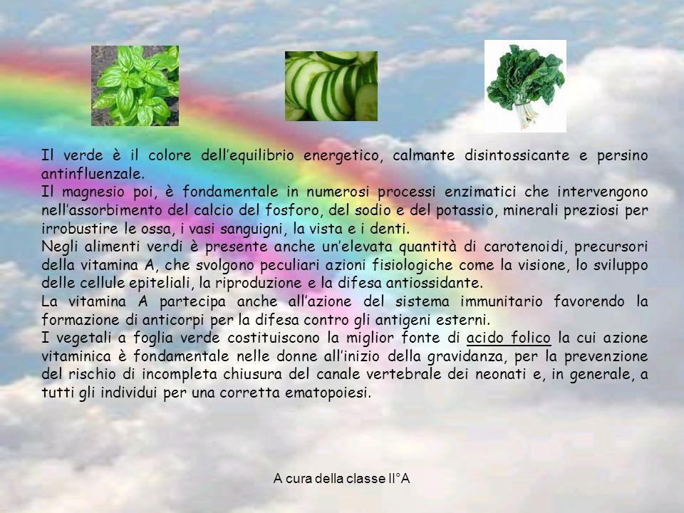 A cura della classe II°A Il verde è il colore dellequilibrio energetico, calmante disintossicante e persino antinfluenzale. Il magnesio poi, è fondame
