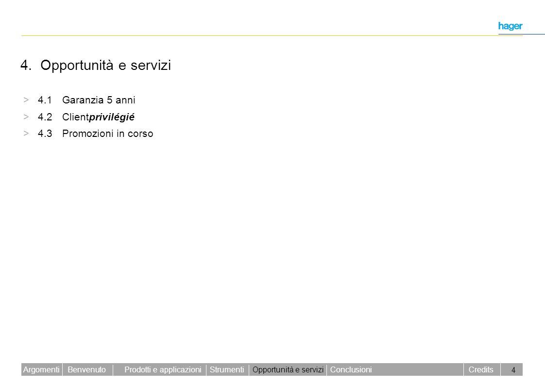 Benvenuto Credits Prodotti e applicazioniStrumentiOpportunità e serviziConclusioniArgomenti 4 4. Opportunità e servizi > 4.1 Garanzia 5 anni > 4.2 Cli