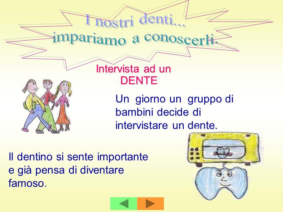 Intervista ad un DENTE Un giorno un gruppo di bambini decide di intervistare un dente. Il dentino si sente importante e già pensa di diventare famoso.