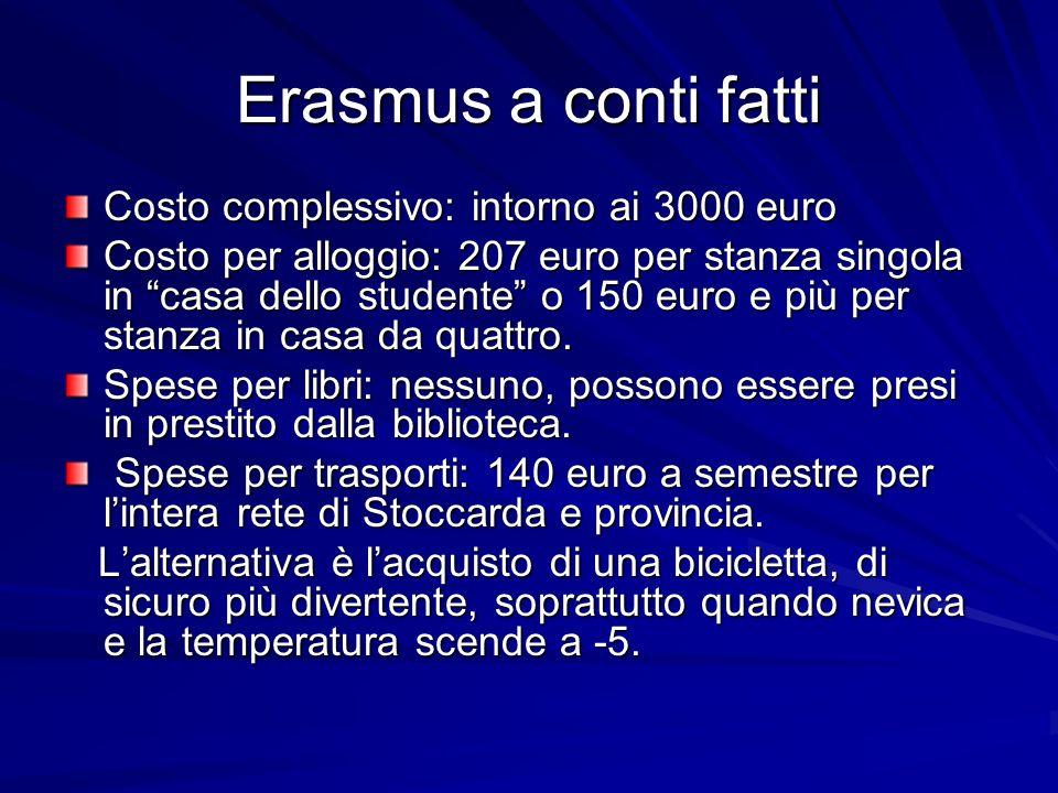 Erasmus a conti fatti Costo complessivo: intorno ai 3000 euro Costo per alloggio: 207 euro per stanza singola in casa dello studente o 150 euro e più per stanza in casa da quattro.