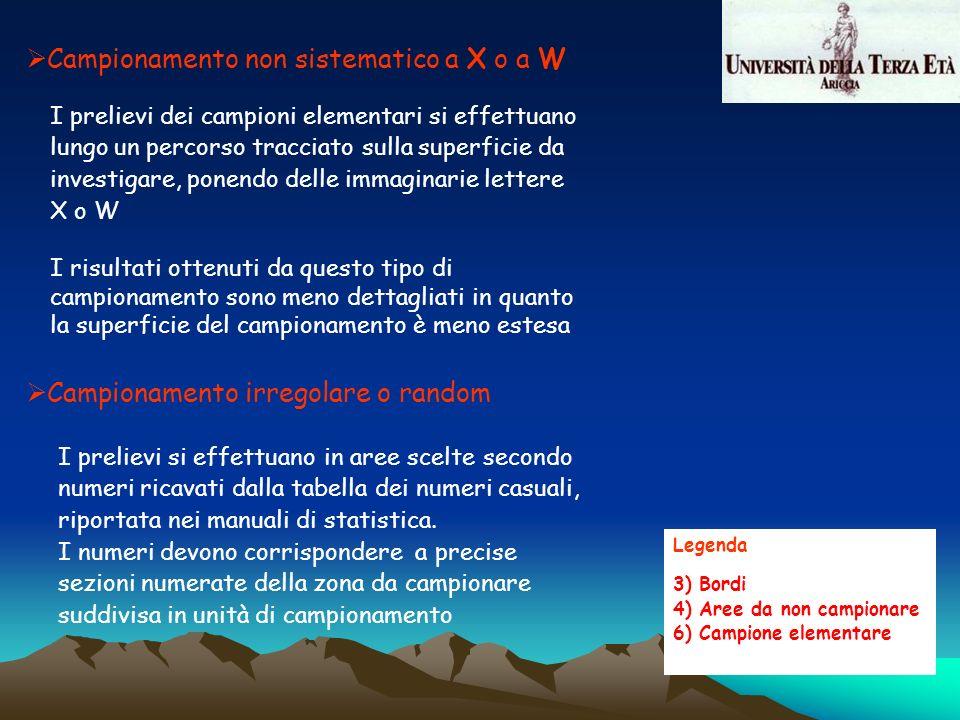 Legenda 3) Bordi 4) Aree da non campionare 6) Campione elementare Campionamento non sistematico a X o a W I prelievi dei campioni elementari si effett