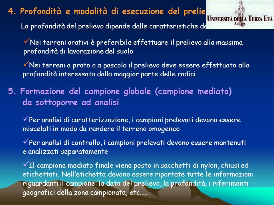 4. Profondità e modalità di esecuzione del prelievo La profondità del prelievo dipende dalle caratteristiche del terreno Nei terreni arativi è preferi