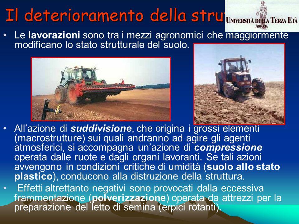 Le lavorazioni sono tra i mezzi agronomici che maggiormente modificano lo stato strutturale del suolo. Allazione di suddivisione, che origina i grossi