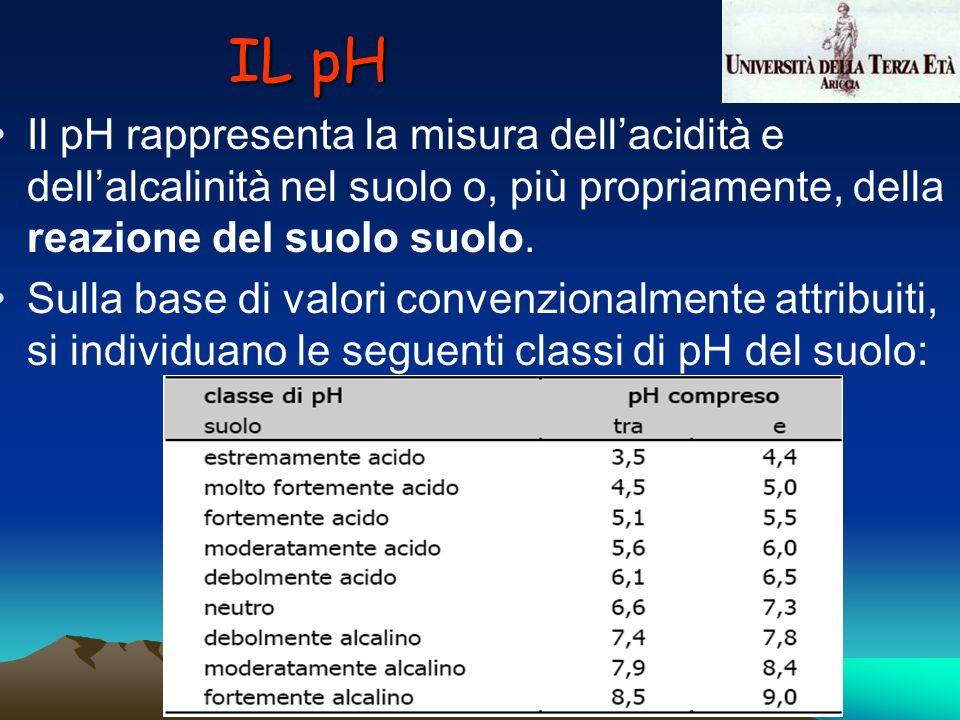 IL pH Il pH rappresenta la misura dellacidità e dellalcalinità nel suolo o, più propriamente, della reazione del suolo suolo. Sulla base di valori con