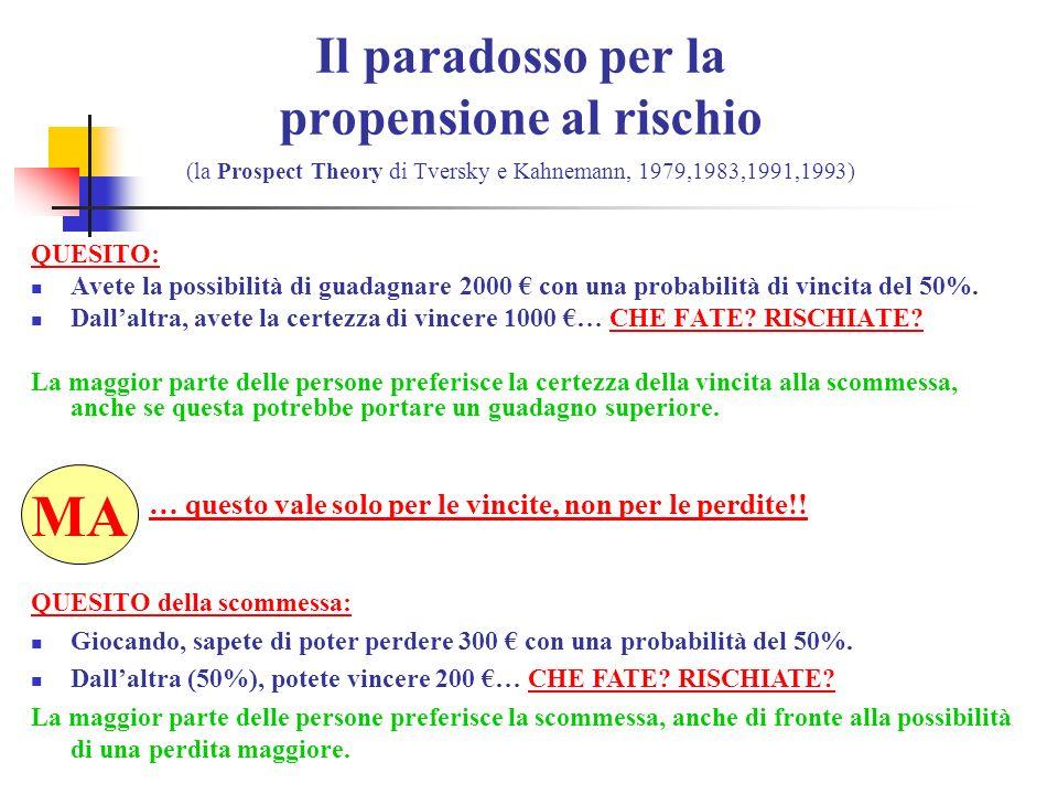 Il paradosso per la propensione al rischio (la Prospect Theory di Tversky e Kahnemann, 1979,1983,1991,1993) QUESITO: Avete la possibilità di guadagnare 2000 con una probabilità di vincita del 50%.
