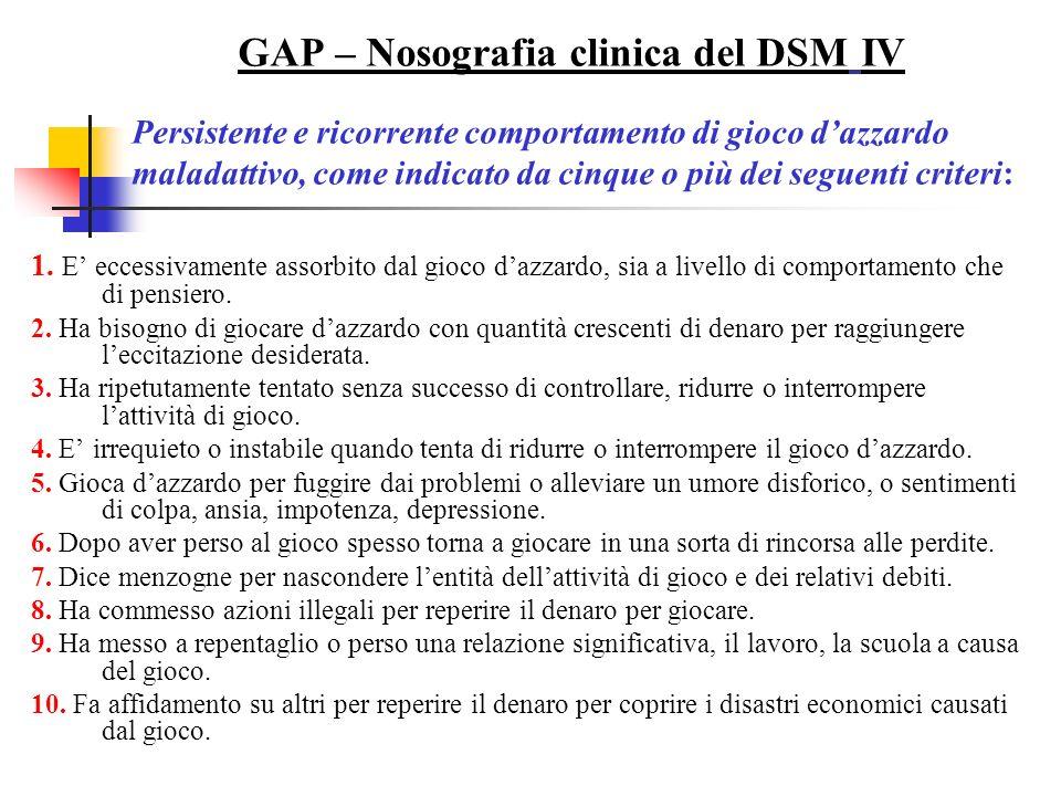 GAP – Nosografia clinica del DSM IV Persistente e ricorrente comportamento di gioco dazzardo maladattivo, come indicato da cinque o più dei seguenti criteri: 1.