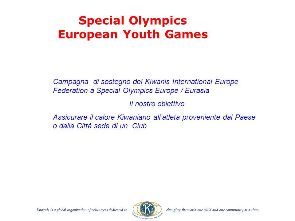 Campagna di sostegno del Kiwanis International Europe Federation a Special Olympics Europe / Eurasia Il nostro obiettivo Assicurare il calore Kiwaniano allatleta proveniente dal Paese o dalla Città sede di un Club Special Olympics European Youth Games