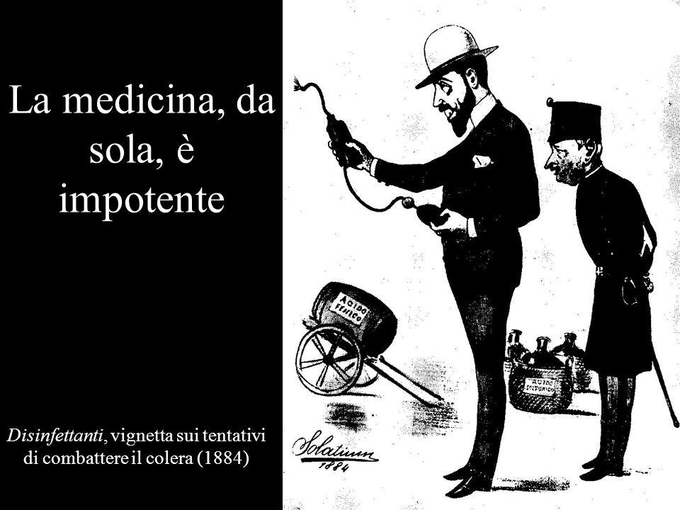 La medicina, da sola, è impotente Disinfettanti, vignetta sui tentativi di combattere il colera (1884)