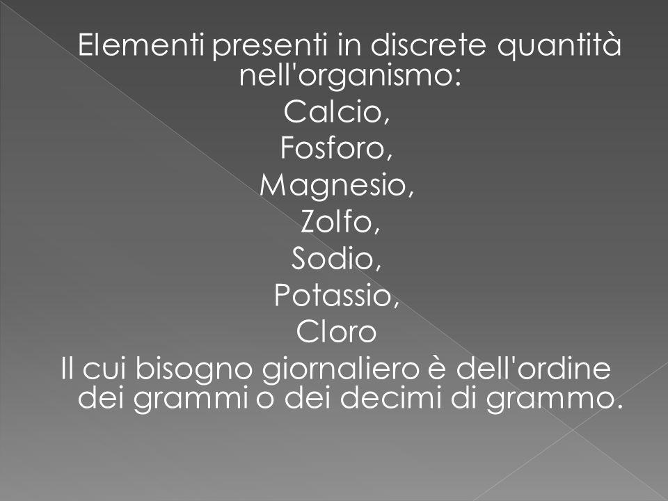 Elementi presenti in discrete quantità nell organismo: Calcio, Fosforo, Magnesio, Zolfo, Sodio, Potassio, Cloro Il cui bisogno giornaliero è dell ordine dei grammi o dei decimi di grammo.