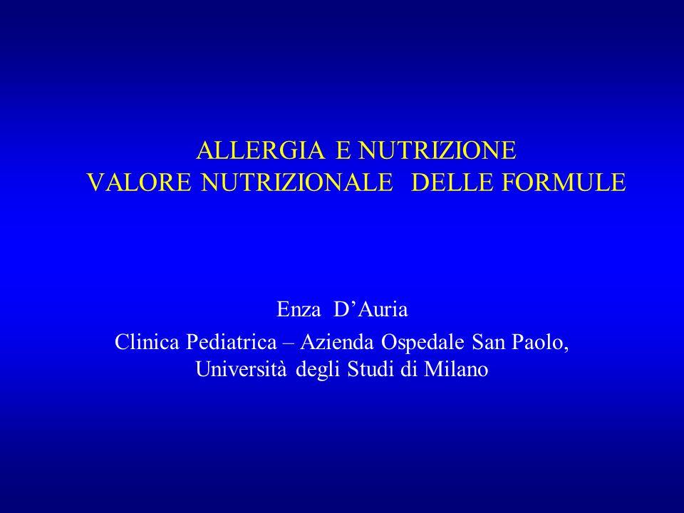 ALLERGIA E NUTRIZIONE VALORE NUTRIZIONALE DELLE FORMULE Enza DAuria Clinica Pediatrica – Azienda Ospedale San Paolo, Università degli Studi di Milano