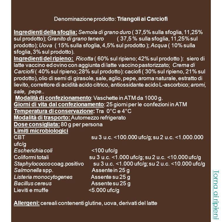 Denominazione prodotto: Triangoli alle Melanzane Ingredienti della sfoglia: Semola di grano duro ( 37,5% sulla sfoglia, 11,25% sul prodotto); Granito di grano tenero ( 37,5 % sulla sfoglia, 11,25% sul prodotto); Uova ( 15% sulla sfoglia, 4,5% sul prodotto ); Acqua ( 10% sulla sfoglia, 3% sul prodotto).