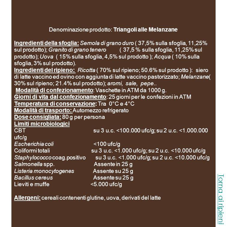 Denominazione prodotto: Triangoli Gamberi e Zucchine Ingredienti della sfoglia: Semola di grano duro ( 37,5% sulla sfoglia, 11,25 sul prodotto) ; Granito di grano tenero ( 37,5 % sulla sfoglia, 11,25% sul prodotto); Uova ( 15% sulla sfoglia, 4,5% sul prodotto ); Acqua ( 10% sulla sfoglia, 3% sul prodotto).