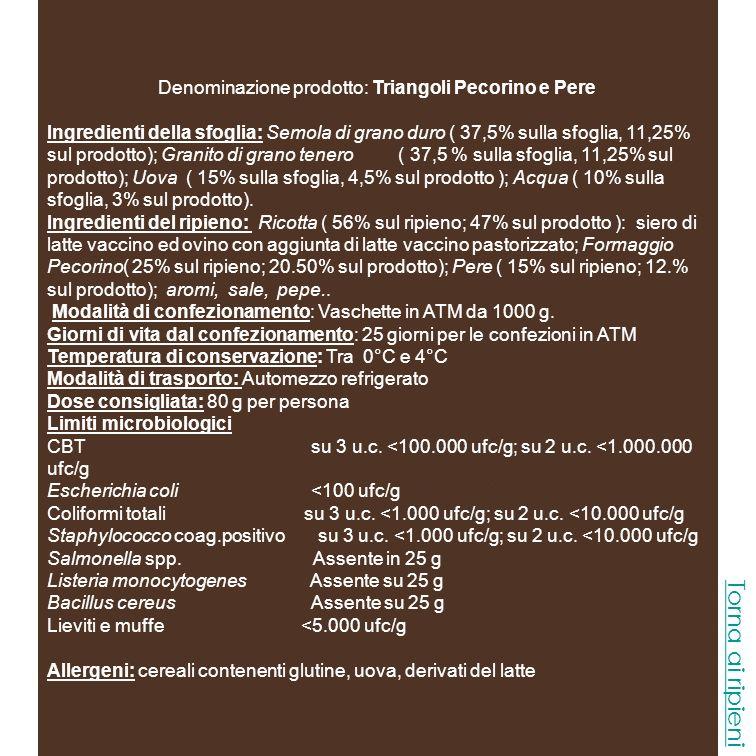 Denominazione prodotto: Triangoli Taleggio e Tartufo Ingredienti della sfoglia: Semola di grano duro ( 37,5% sulla sfoglia, 11,25 sul prodotto) ; Granito di grano tenero ( 37,5 % sulla sfoglia, 11,25% sul prodotto); Uova ( 15% sulla sfoglia, 4,5% sul prodotto ); Acqua ( 10% sulla sfoglia, 3% sul prodotto).