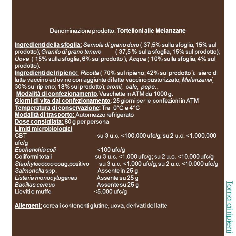 Denominazione prodotto: Tortelloni di Carne Ingredienti della sfoglia: Semola di grano duro ( 37,5% sulla sfoglia, 18,75 sul prodotto) ; Granito di grano tenero ( 37,5 % sulla sfoglia, 18,75% sul prodotto); Uova ( 15% sulla sfoglia, 7,5% sul prodotto ); Acqua ( 10% sulla sfoglia, 5% sul prodotto).